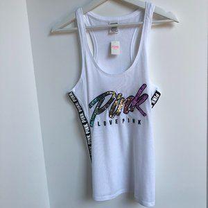 PINK Victoria's Secret Tank Top White w Sequins S